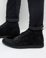 Asos Brothel Creeper Boots in Black Leather and Suede Mix