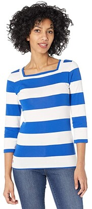 Lauren Ralph Lauren Striped Cotton-Blend Top (Polo Black/White) Women's Clothing