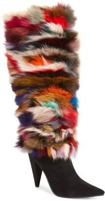 Jeffrey Campbell Maze Genuine Rabbit Fur Knee High Boot