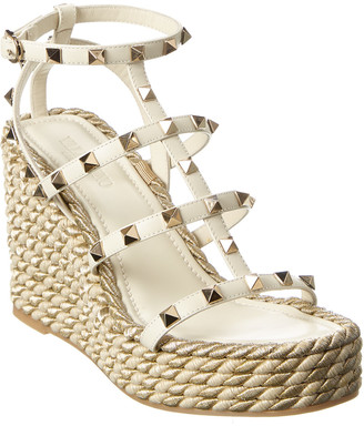 Valentino Rockstud Caged 100 Leather Ankle Strap Wedge