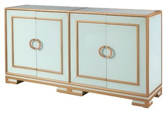 Mercer41 Ledesma Reverse Painted Glass 4 Door Accent Cabinet Mercer41