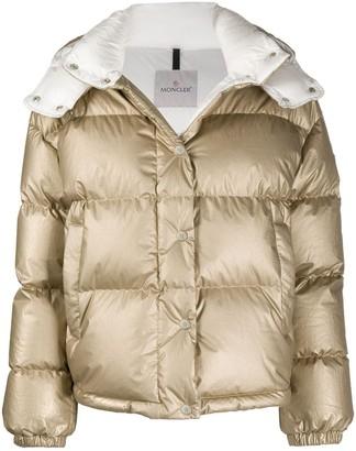 Moncler Metallic Hooded Puffer Jacket