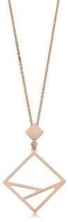 Fremada Italian 14k Yellow Gold or Rose Gold Geometric Pendant Adjustable Length Necklace