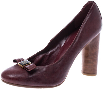 Marc Jacobs Dark Burgundy Bow Leather Wooden Heel Pumps Size 38.5