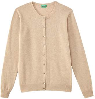 Benetton Fine Knit Wool Cardigan with Crew Neck