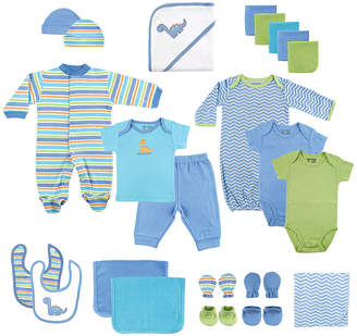 Luvable Friends Boys' Infant Bodysuits Blue - Blue Stripe Footie 24-Piece Gift Cube Set - Newborn