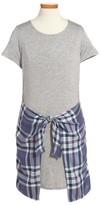 Love, Fire Girl's Faux Wrap T-Shirt Dress