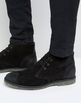 Asos Lace Up Chukka Boot In Black Suede With Speckle Sole