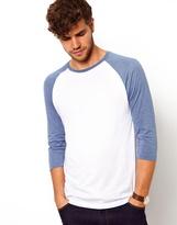 Asos 3/4 Sleeve T-Shirt With Contrast Raglan - White