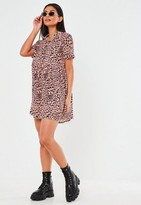 Missguided Blush Leopard Print Shirt Smock Dress