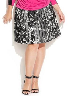 Calvin Klein Women's Plus Size Printed Pleated Skirt