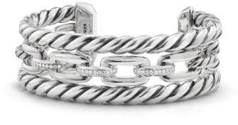 David Yurman Wellesley Link Three-Row Cuff With Diamonds