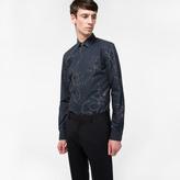 Paul Smith Men's Slim-Fit Navy 'Hand-Drawn Botanical' Print Cotton Shirt