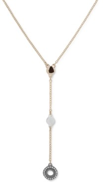 "DKNY Tri-Tone Pave Circle Lariat Necklace, 18"" + 3"" extender"