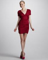 Halston Ruched Crisscross Dress, Raspberry