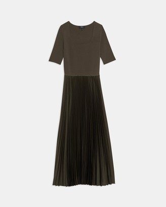 Theory Square Neck Dress in Ribbed Crepe