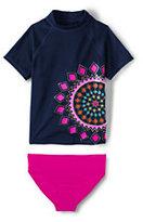 Classic Little Girls Short Sleeve Rash Guard Set-Kaleidoscope