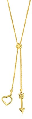 Overstock Adjustable Lariat Necklace with Arrow and Heart Pendants in 14k Yellow Gold