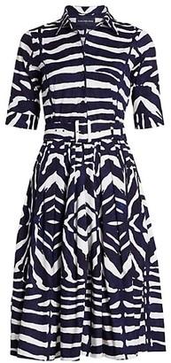 Samantha Sung Florance Zebra-Stripe Stretch-Cotton Midi Dress