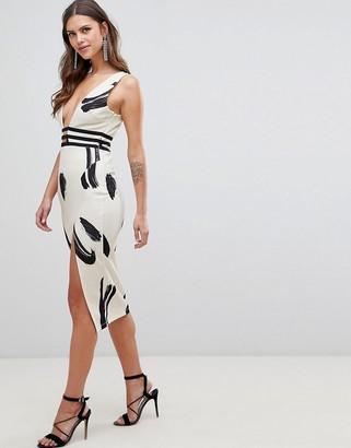ASOS DESIGN smudge print plunge bodycon midi dress