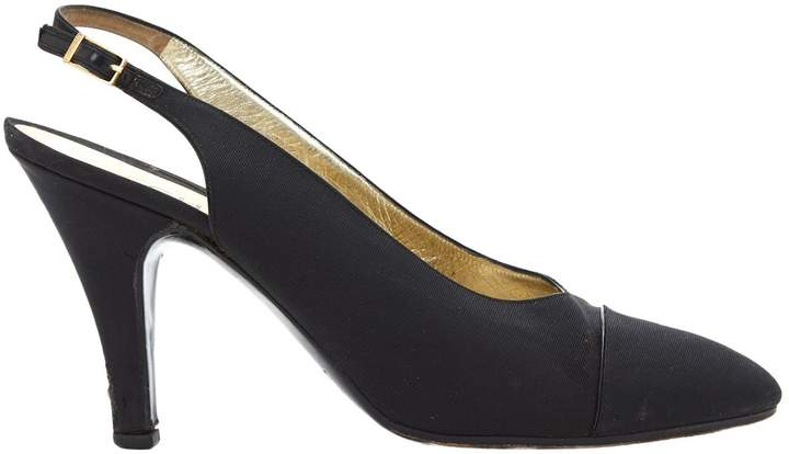 Chanel Vintage Black Cloth Heels