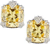 Judith Ripka Fontaine Cushion-Cut Canary Crystal Button Earrings