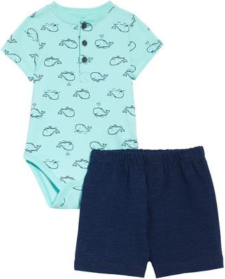 Little Me Whale Henley Bodysuit & Shorts Set