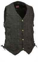 Milwaukee Leather Men's 10 Pocket Side Lace Denim Vest (, XL)