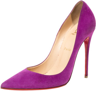 Christian Louboutin Purple Suede Leather So Kate Pointed Toe Pumps Size 39