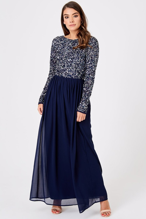 Little Mistress Luxury Briella Navy Hand-Embellished Pearl Maxi Dress
