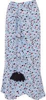 Marni Gathered Printed Silk Crepe De Chine Skirt - Blue