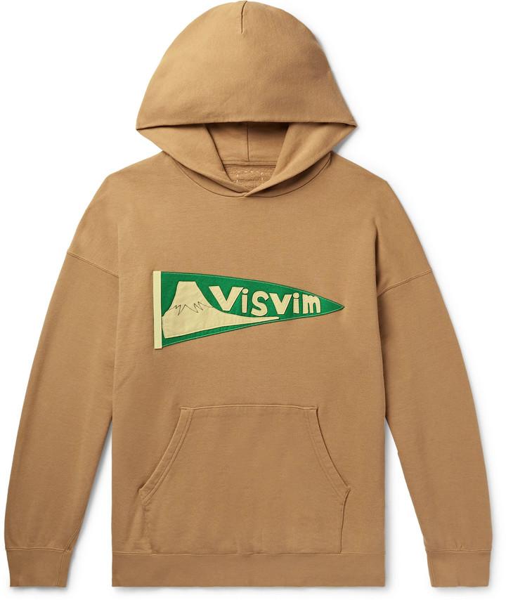 Visvim Jumbo Logo-Appliqued Melange Loopback Cotton-Jersey Hoodie - Men - Brown
