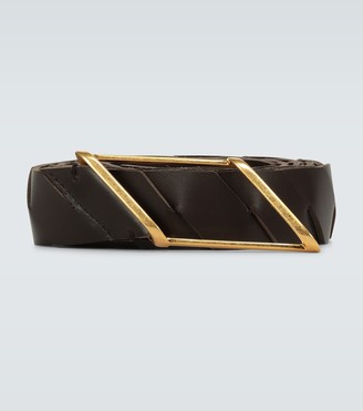 Bottega Veneta Intrecciato diagonal buckle belt