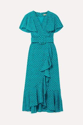 Michael Kors Wrap-effect Ruffled Polka-dot Silk-crepe Midi Dress - Turquoise