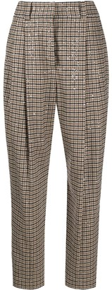 Brunello Cucinelli Checked High-Waisted Trousers