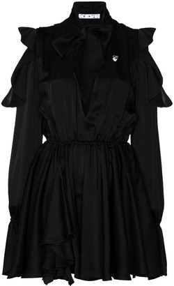 Off-White Cold-Shoulder Ruffled Mini Dress