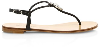 Giuseppe Zanotti Swarovski Crystal Embellished Leather Thong Sandals