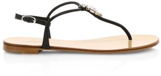 Giuseppe Zanotti Swarovski Crystal Embellished Leather Thong Sandals
