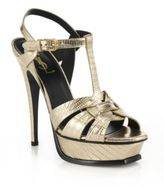 Saint Laurent Tribute Faux Lizard-Embossed Leather Platform Sandals