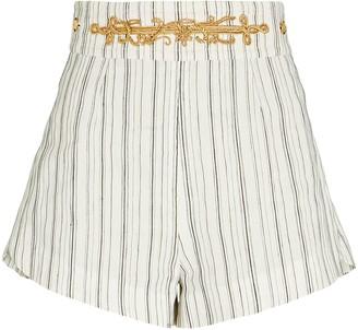 Dundas Striped Cotton-Linen Shorts
