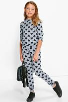 Boohoo Girls Knitted Heart Print Tracksuit