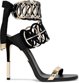 Balmain Laser-cut Mirrored-leather And Suede Sandals