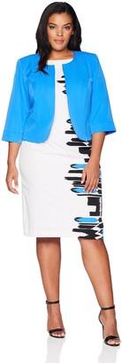 Maya Brooke Women's Plus Size Side Border Animal Print Jacket Dress
