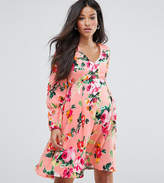 Queen Bee Maternity Floral Tea Dress With Bow Sleeve Detail