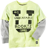 Carter's Long-Sleeve Layered-Look Neon Athletic Graphic Tee