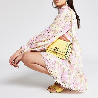 River Island Pink floral embroidery puff sleeve mini dress