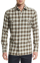 Tom Ford Washed Check Sport Shirt, Yellow