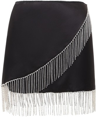 Oseree Embellished Satin Mini Skirt