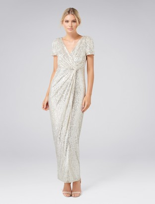 Forever New Shea Sequin Drape Maxi Dress - Silver Sequin - 4
