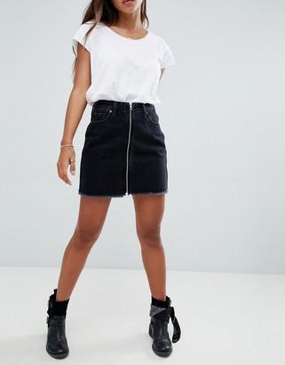 Abercrombie & Fitch zip thru denim mini skirt